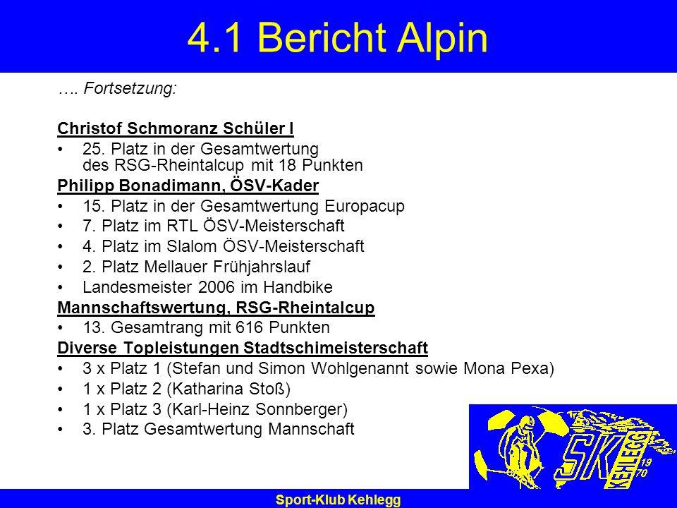 Sport-Klub Kehlegg 4.1 Bericht Alpin …. Fortsetzung: Christof Schmoranz Schüler I 25. Platz in der Gesamtwertung des RSG-Rheintalcup mit 18 Punkten Ph