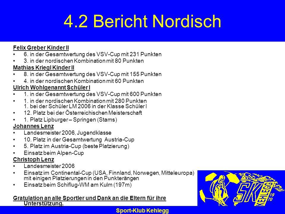 Sport-Klub Kehlegg 4.2 Bericht Nordisch Felix Greber Kinder II 6. in der Gesamtwertung des VSV-Cup mit 231 Punkten 3. in der nordischen Kombination mi