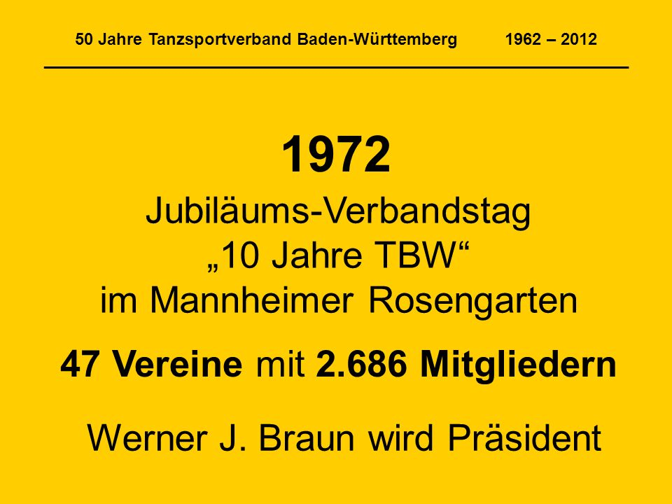 50 Jahre Tanzsportverband Baden-Württemberg 1962 – 2012 _______________________________________________________________ 47 Vereine mit 2.686 Mitgliedern 1972 Jubiläums-Verbandstag 10 Jahre TBW im Mannheimer Rosengarten Werner J.
