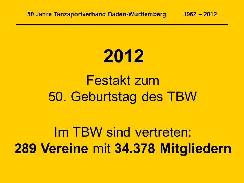 50 Jahre Tanzsportverband Baden-Württemberg 1962 – 2012 _______________________________________________________________ 2012 Festakt zum 50.