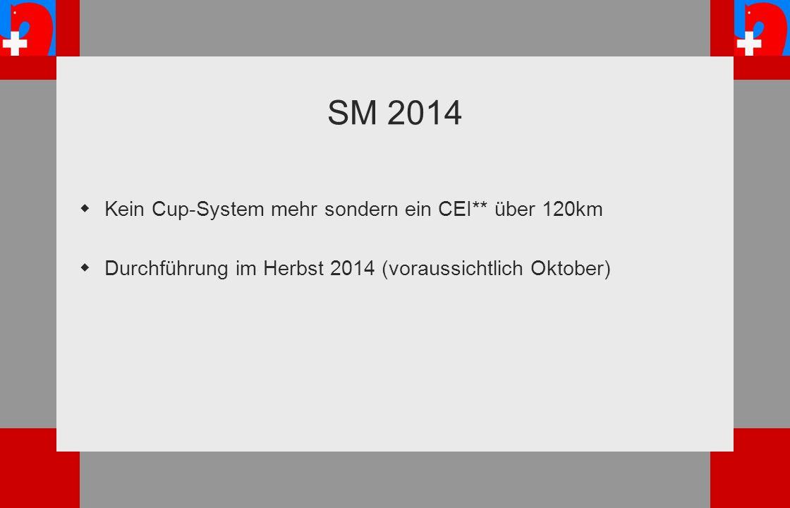 SM 2014 Kein Cup-System mehr sondern ein CEI** über 120km Durchführung im Herbst 2014 (voraussichtlich Oktober)