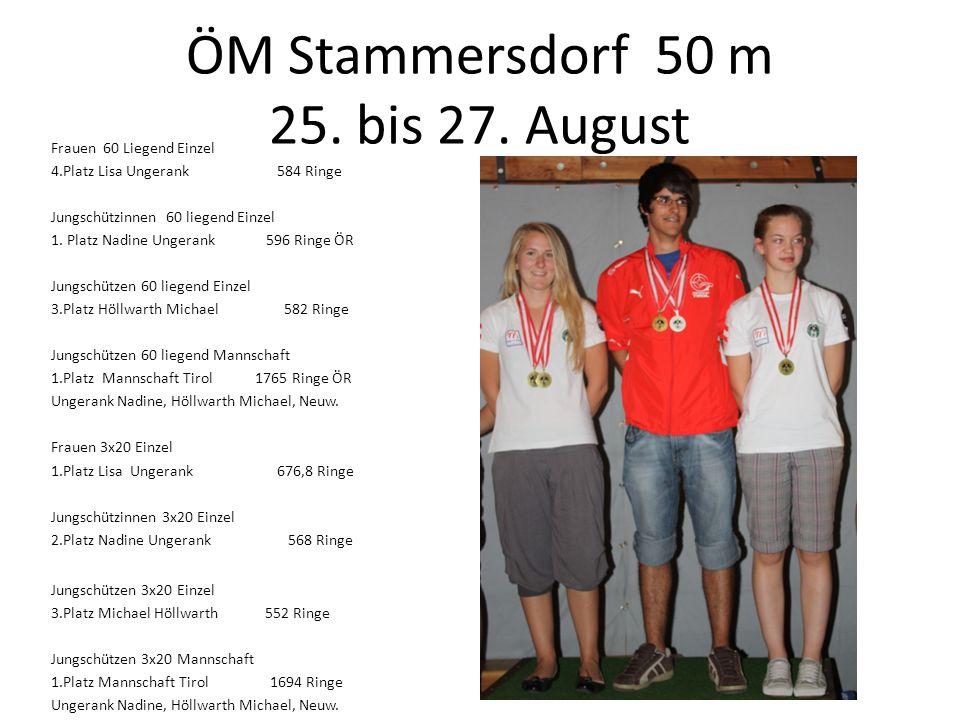 ÖM Stammersdorf 50 m 25. bis 27. August Frauen 60 Liegend Einzel 4.Platz Lisa Ungerank 584 Ringe Jungschützinnen 60 liegend Einzel 1. Platz Nadine Ung