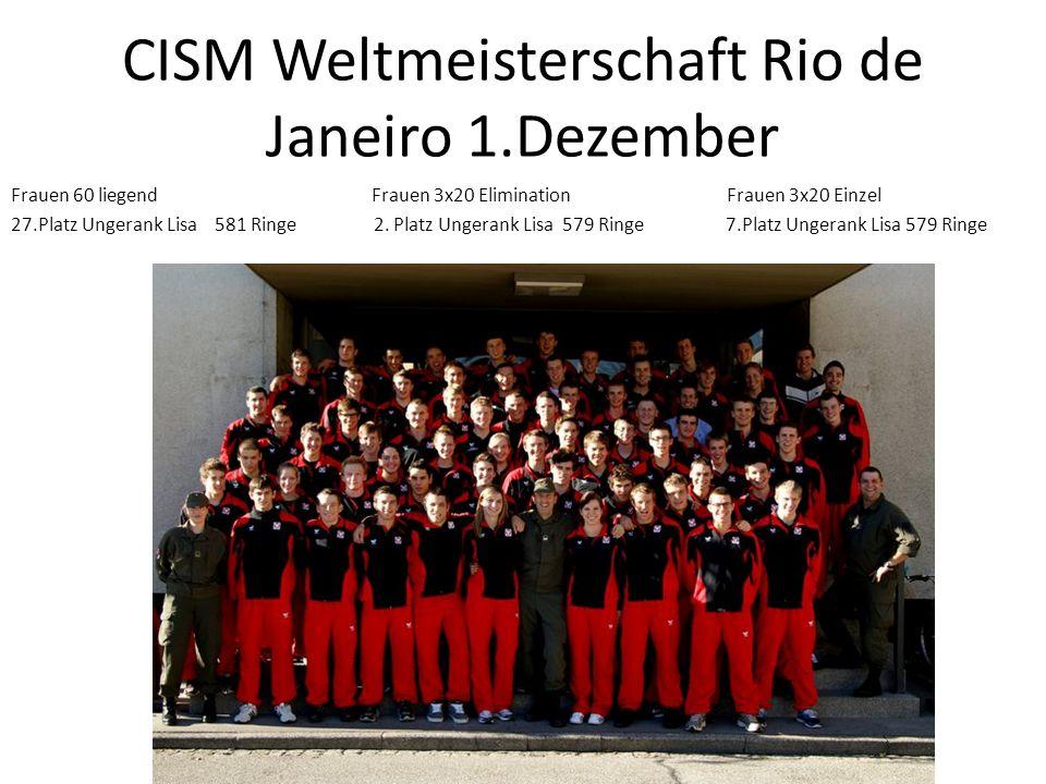 CISM Weltmeisterschaft Rio de Janeiro 1.Dezember Frauen 60 liegend Frauen 3x20 Elimination Frauen 3x20 Einzel 27.Platz Ungerank Lisa 581 Ringe 2. Plat