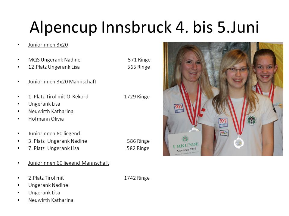 Alpencup Innsbruck 4. bis 5.Juni Juniorinnen 3x20 MQS Ungerank Nadine 571 Ringe 12.Platz Ungerank Lisa 565 Ringe Juniorinnen 3x20 Mannschaft 1. Platz