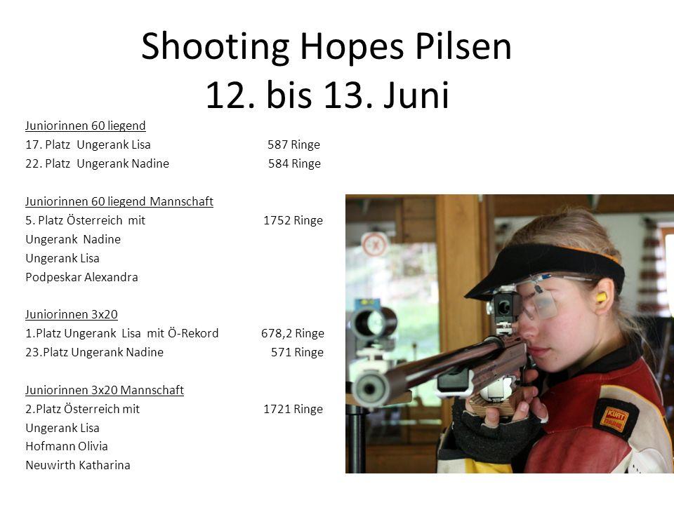Juniorinnen 60 liegend 17. Platz Ungerank Lisa 587 Ringe 22. Platz Ungerank Nadine 584 Ringe Juniorinnen 60 liegend Mannschaft 5. Platz Österreich mit