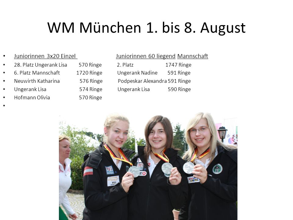 WM München 1. bis 8. August Juniorinnen 3x20 Einzel Juniorinnen 60 liegend Mannschaft 28. Platz Ungerank Lisa 570 Ringe 2. Platz 1747 Ringe 6. Platz M