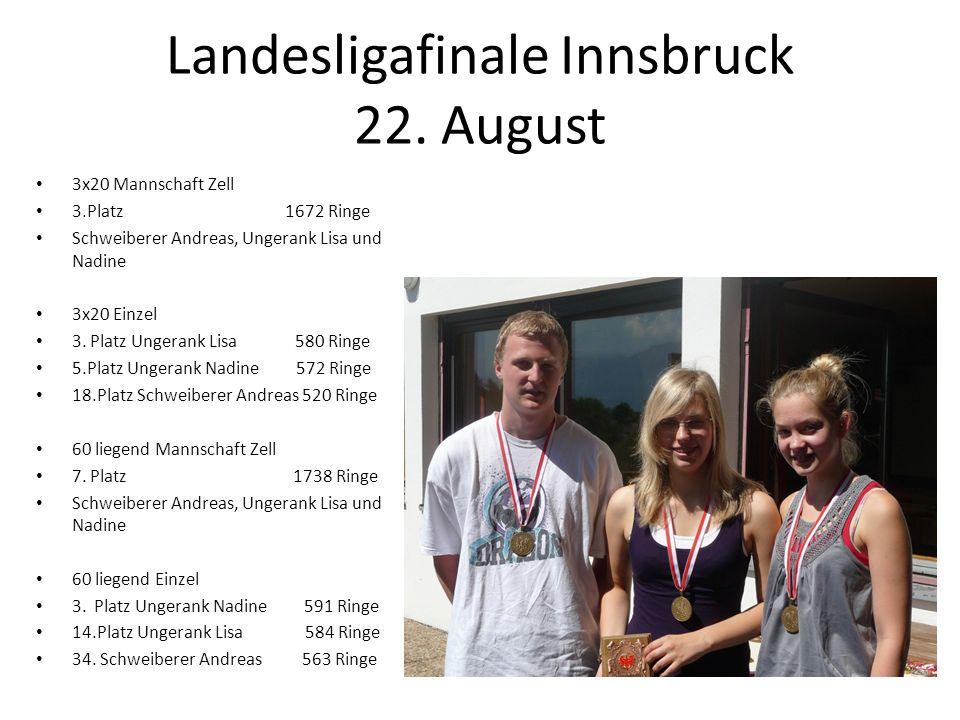 Landesligafinale Innsbruck 22. August 3x20 Mannschaft Zell 3.Platz 1672 Ringe Schweiberer Andreas, Ungerank Lisa und Nadine 3x20 Einzel 3. Platz Unger