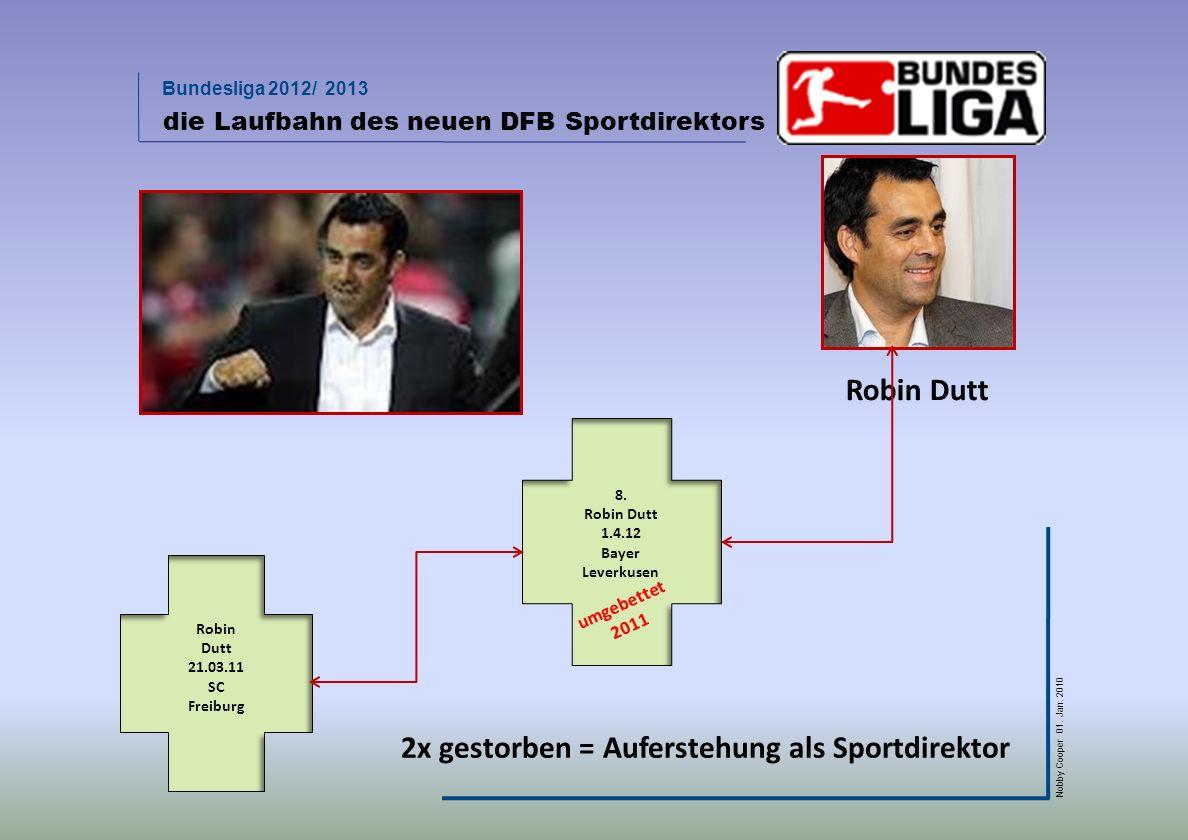 Bundesliga 2012/ 2013 Nobby Cooper 01. Jan. 2010 die Laufbahn des neuen DFB Sportdirektors 8. Robin Dutt 1.4.12 Bayer Leverkusen umgebettet 2011 Robin