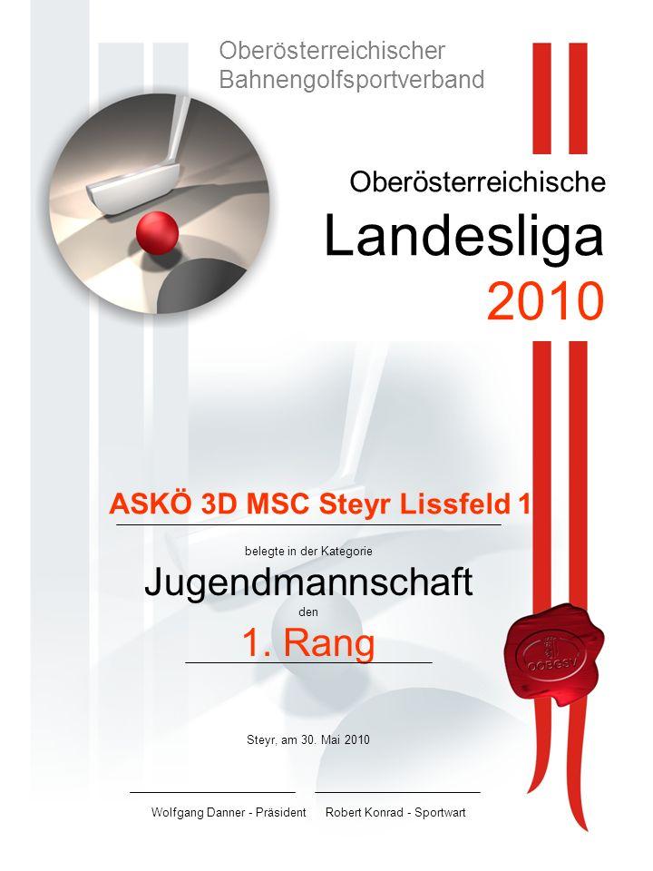 Oberösterreichische Landesliga 2010 belegte in der Kategorie Jugendmannschaft den 1.