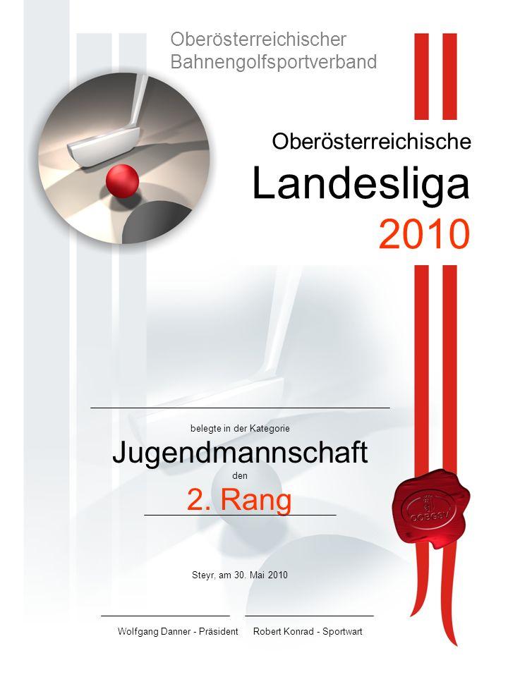 Oberösterreichische Landesliga 2010 belegte in der Kategorie Jugendmannschaft den 2.