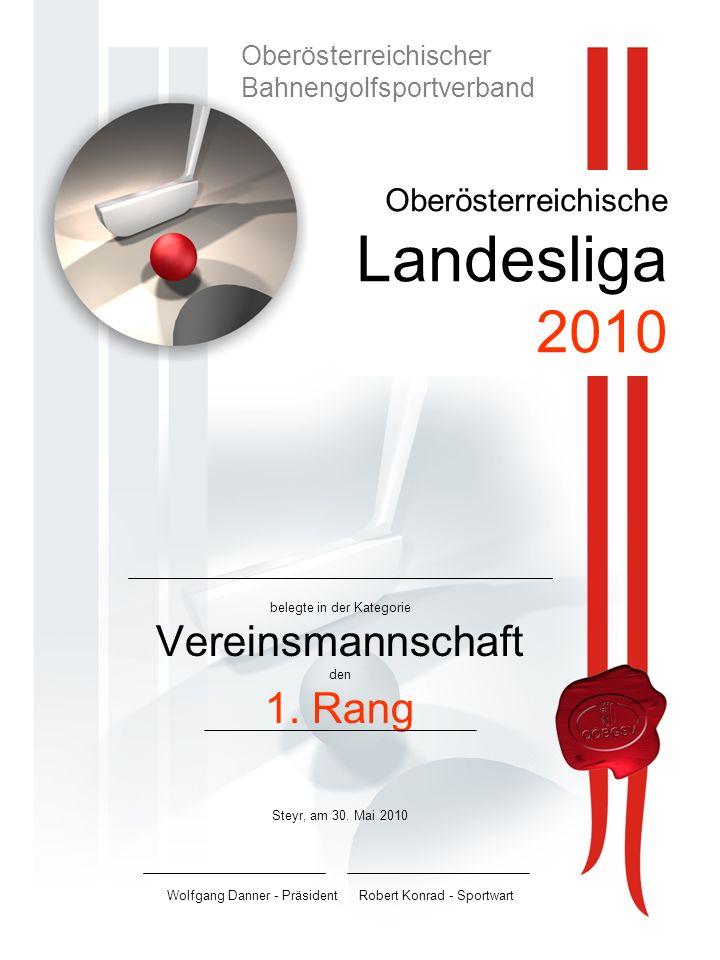 Oberösterreichische Landesliga 2010 belegte in der Kategorie Vereinsmannschaft den 1.