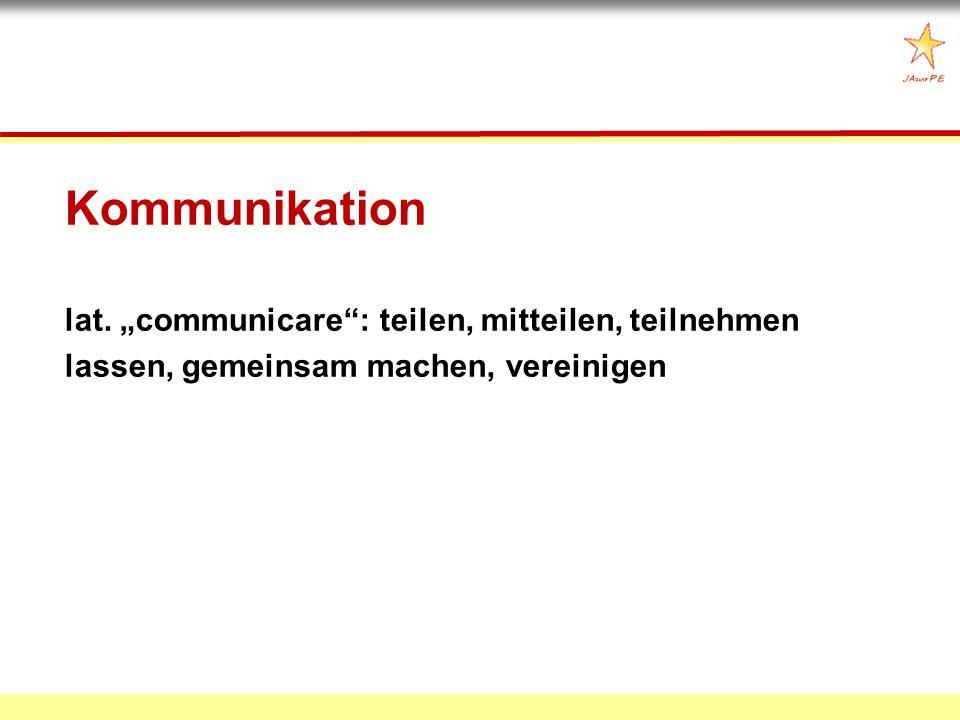 Kommunikation lat. communicare: teilen, mitteilen, teilnehmen lassen, gemeinsam machen, vereinigen
