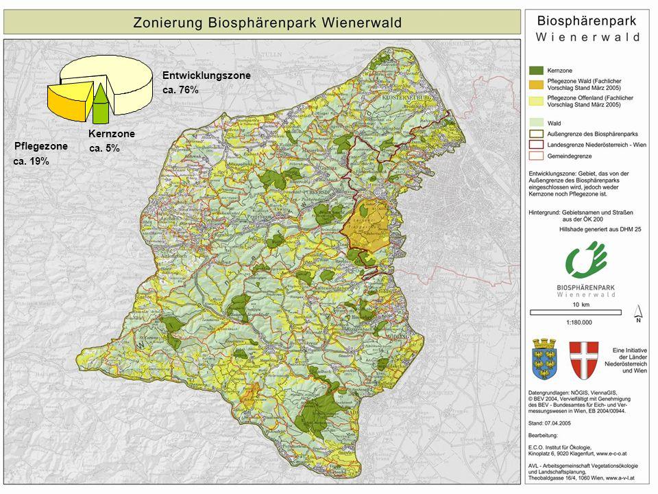 Eine Initiative der Länder Niederösterreich und Wien BIOSPHÄRENPARK WIENERWALD Kernzone ca. 5% Pflegezone ca. 19% Entwicklungszone ca. 76%
