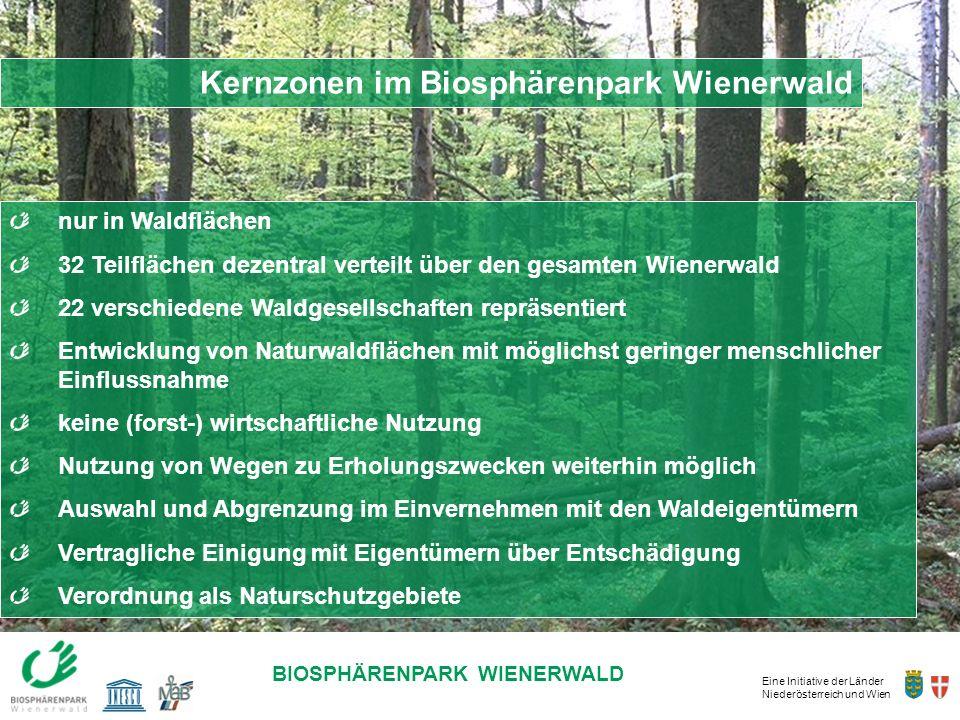 Eine Initiative der Länder Niederösterreich und Wien BIOSPHÄRENPARK WIENERWALD Kernzonen im Biosphärenpark Wienerwald nur in Waldflächen 32 Teilfläche