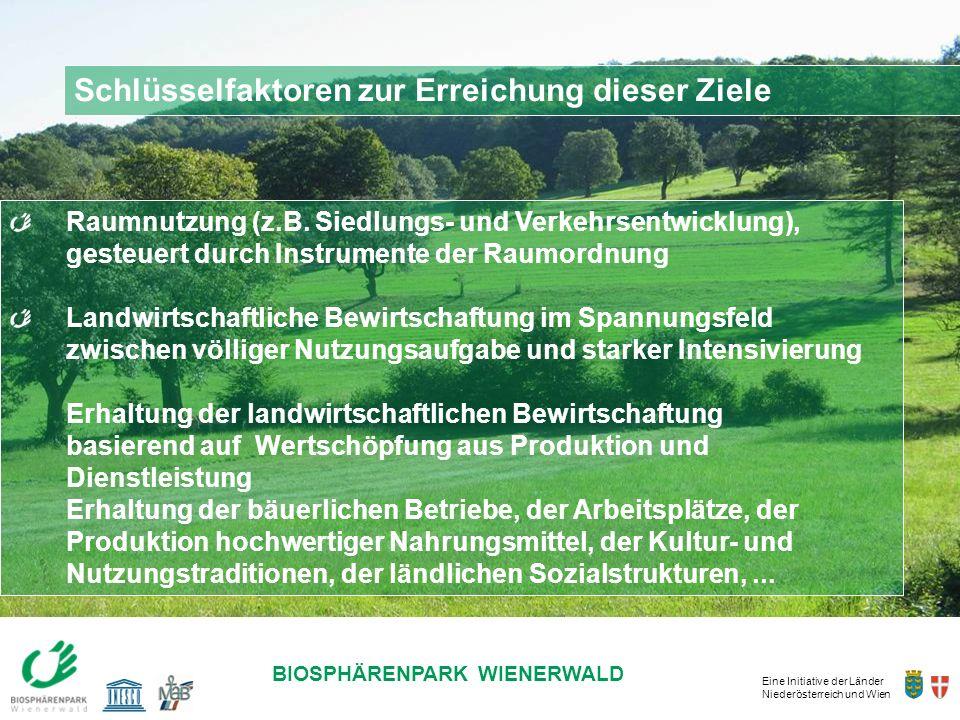 Eine Initiative der Länder Niederösterreich und Wien BIOSPHÄRENPARK WIENERWALD Schlüsselfaktoren zur Erreichung dieser Ziele Raumnutzung (z.B. Siedlun