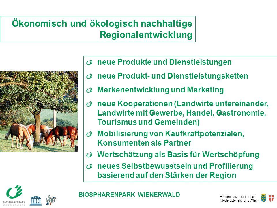 Eine Initiative der Länder Niederösterreich und Wien BIOSPHÄRENPARK WIENERWALD neue Produkte und Dienstleistungen neue Produkt- und Dienstleistungsket