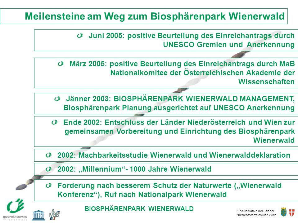 Eine Initiative der Länder Niederösterreich und Wien BIOSPHÄRENPARK WIENERWALD Meilensteine am Weg zum Biosphärenpark Wienerwald Ende 2002: Entschluss