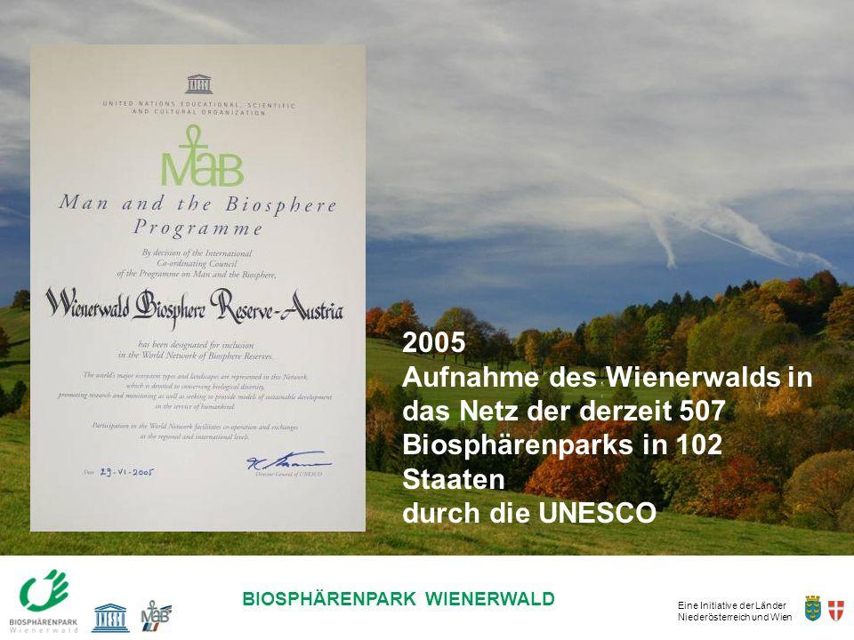 Eine Initiative der Länder Niederösterreich und Wien BIOSPHÄRENPARK WIENERWALD 2005 Aufnahme des Wienerwalds in das Netz der derzeit 507 Biosphärenpar