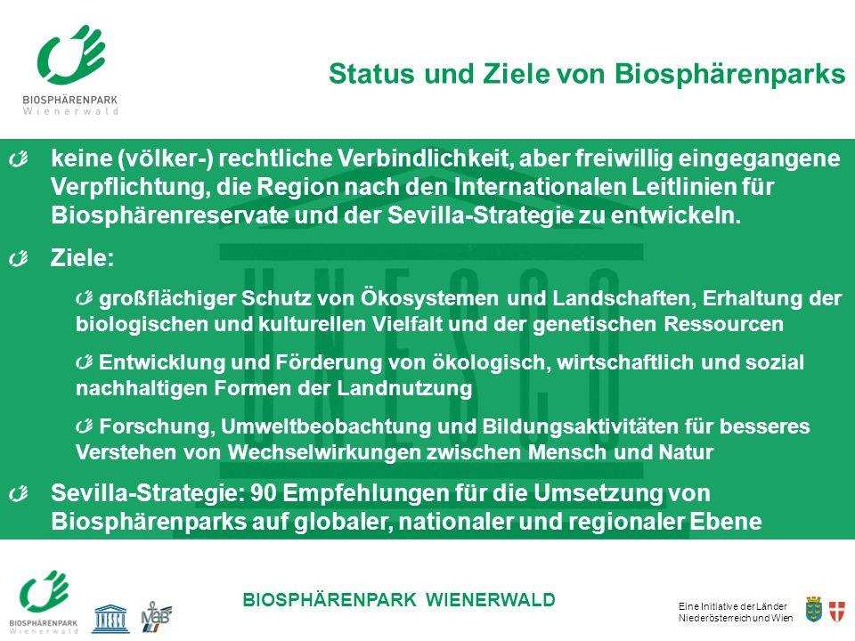Eine Initiative der Länder Niederösterreich und Wien BIOSPHÄRENPARK WIENERWALD keine (völker-) rechtliche Verbindlichkeit, aber freiwillig eingegangen