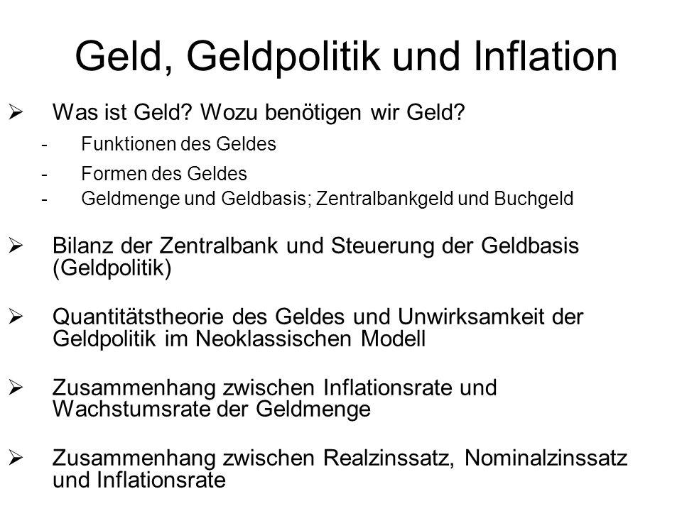 Geld, Geldpolitik und Inflation Was ist Geld? Wozu benötigen wir Geld? -Funktionen des Geldes -Formen des Geldes -Geldmenge und Geldbasis; Zentralbank
