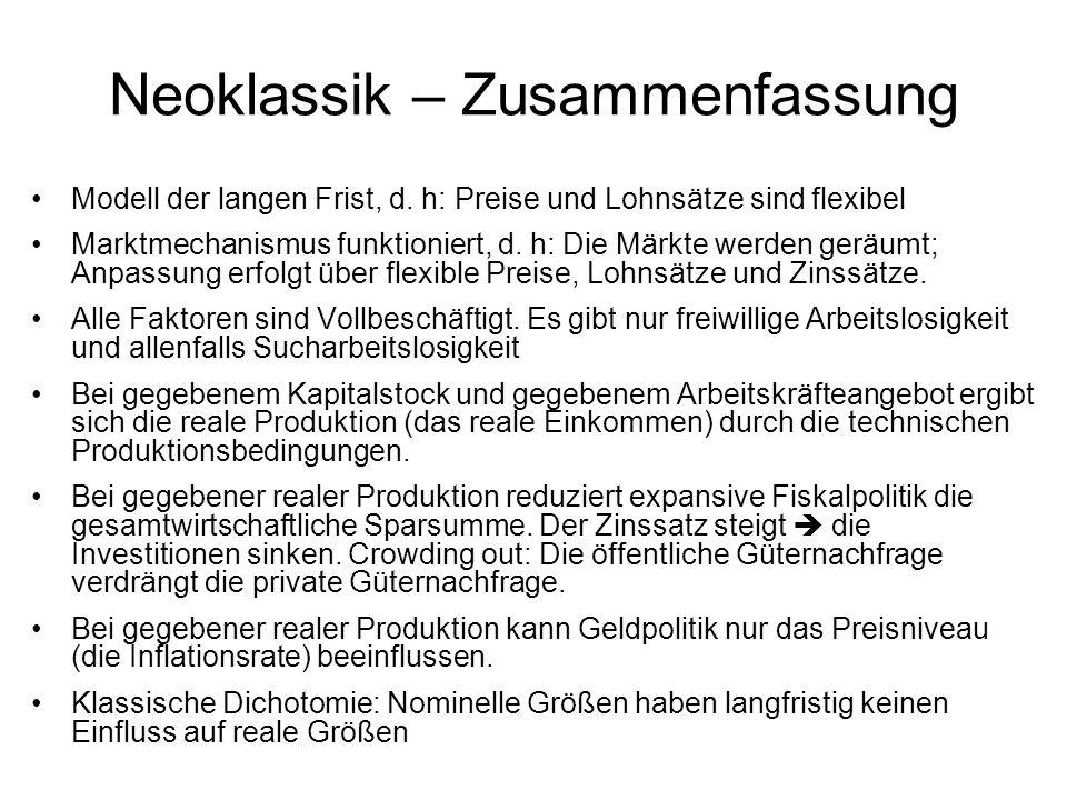 Neoklassik – Zusammenfassung Modell der langen Frist, d. h: Preise und Lohnsätze sind flexibel Marktmechanismus funktioniert, d. h: Die Märkte werden