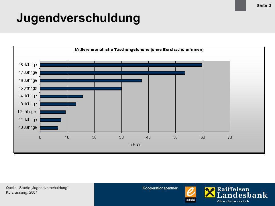Kooperationspartner: Seite 3 Jugendverschuldung Quelle: Studie Jugendverschuldung, Kurzfassung, 2007