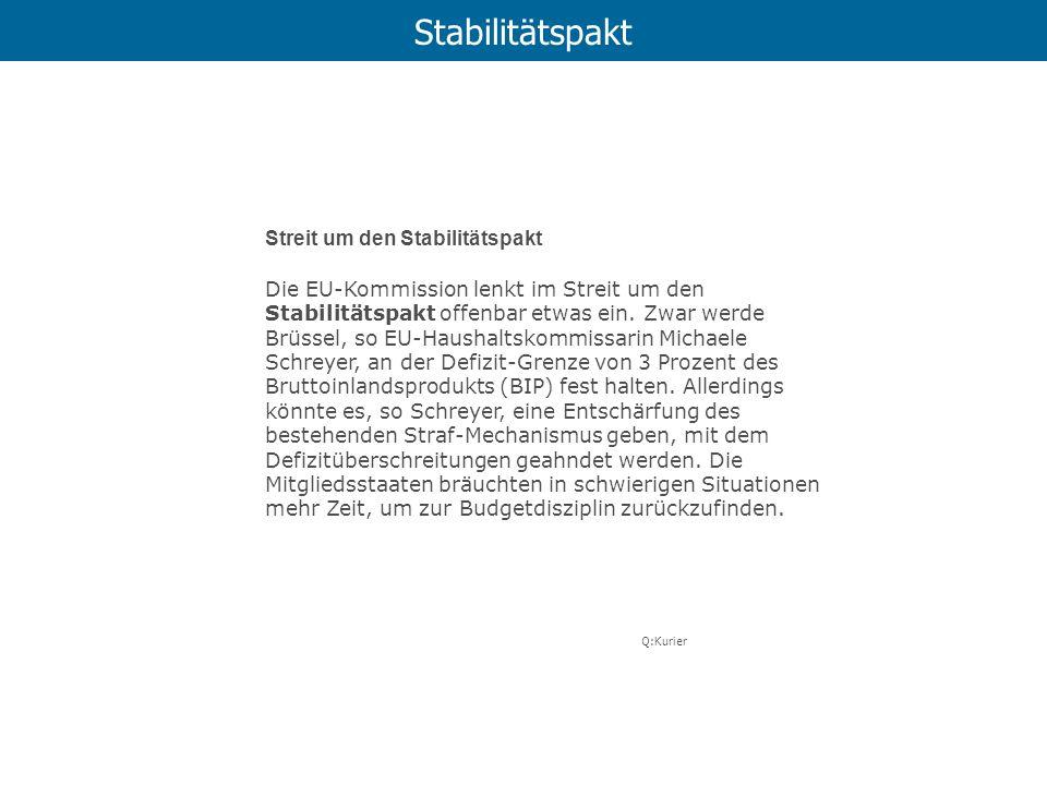Stabilitätspakt Streit um den Stabilitätspakt Die EU-Kommission lenkt im Streit um den Stabilitätspakt offenbar etwas ein. Zwar werde Brüssel, so EU-H