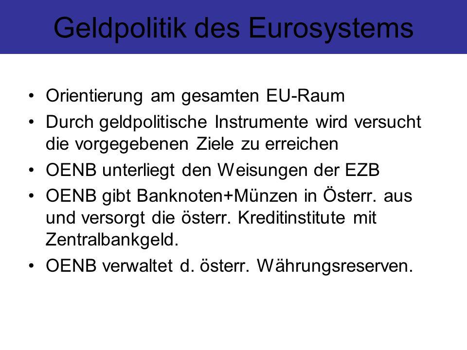 Geldpolitik des Eurosystems Orientierung am gesamten EU-Raum Durch geldpolitische Instrumente wird versucht die vorgegebenen Ziele zu erreichen OENB u