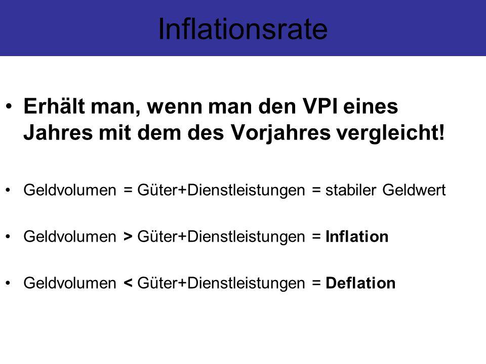 Inflationsrate Erhält man, wenn man den VPI eines Jahres mit dem des Vorjahres vergleicht! Geldvolumen = Güter+Dienstleistungen = stabiler Geldwert Ge