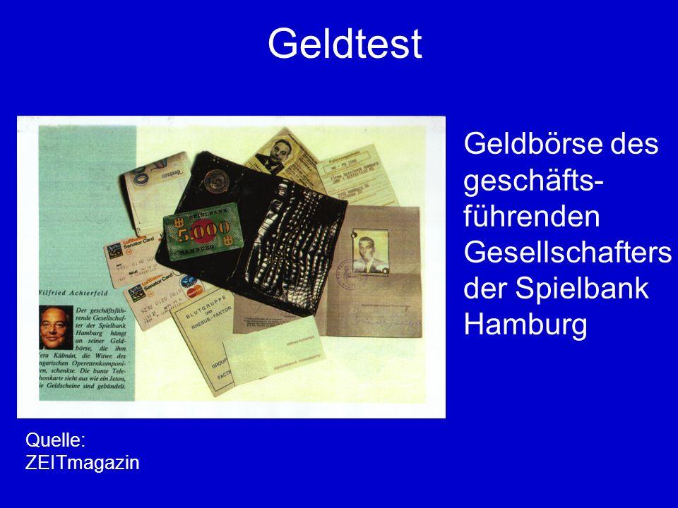 Geldtest Geldbörse des geschäfts- führenden Gesellschafters der Spielbank Hamburg Quelle: ZEITmagazin