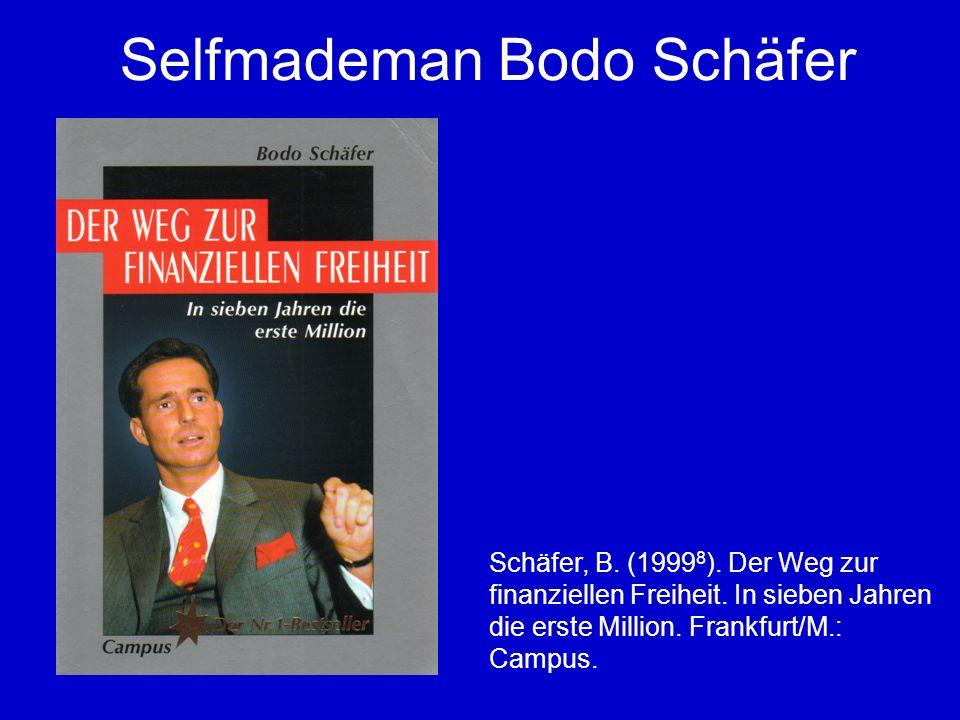 Selfmademan Bodo Schäfer Schäfer, B.(1999 8 ). Der Weg zur finanziellen Freiheit.