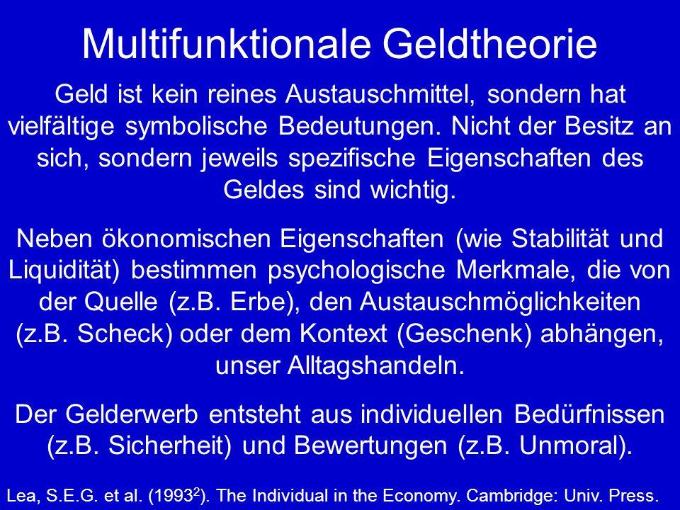 Multifunktionale Geldtheorie Geld ist kein reines Austauschmittel, sondern hat vielfältige symbolische Bedeutungen.