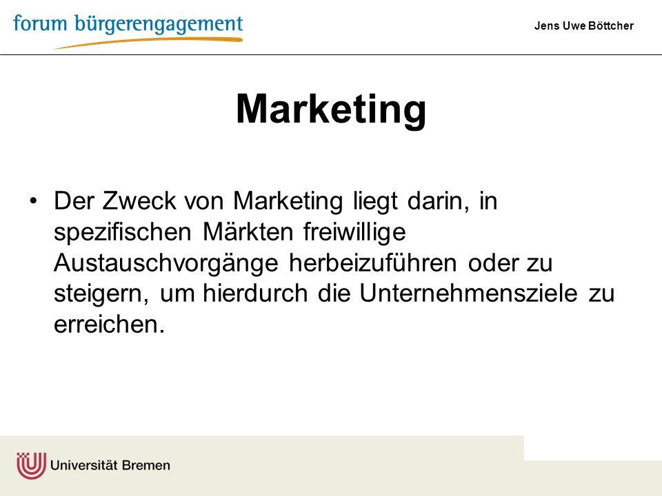Jens Uwe Böttcher Der Zweck von Marketing liegt darin, in spezifischen Märkten freiwillige Austauschvorgänge herbeizuführen oder zu steigern, um hierd