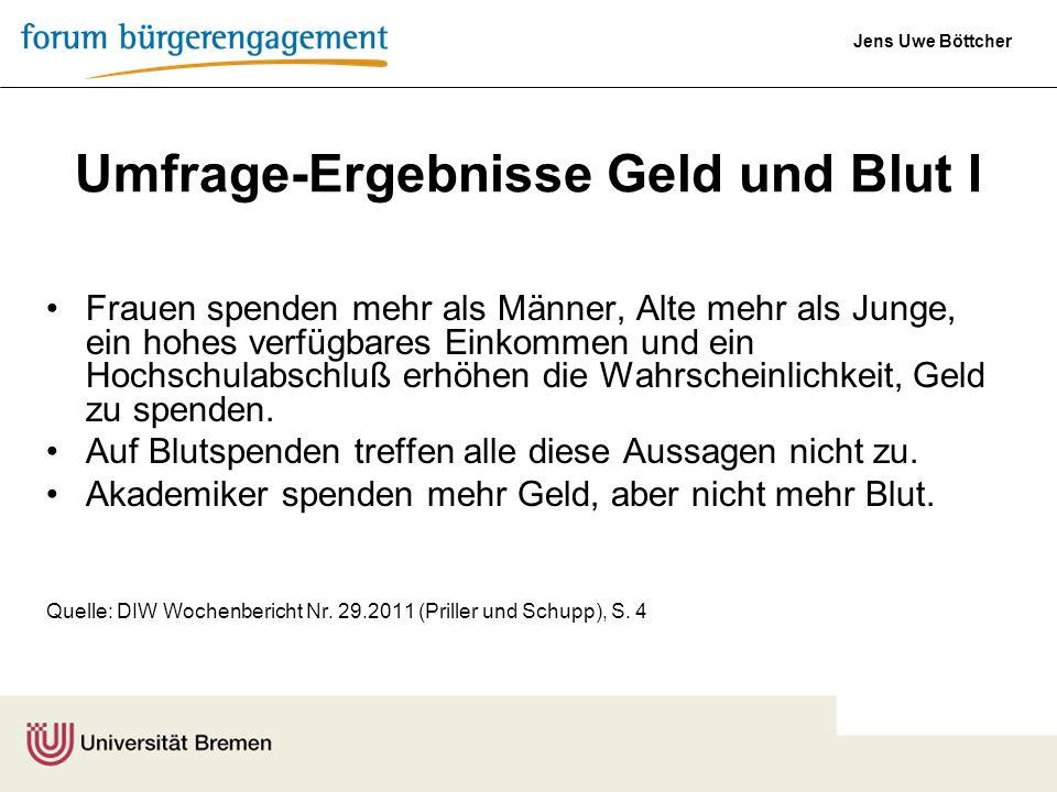 Jens Uwe Böttcher Umfrage-Ergebnisse Geld und Blut I Frauen spenden mehr als Männer, Alte mehr als Junge, ein hohes verfügbares Einkommen und ein Hoch