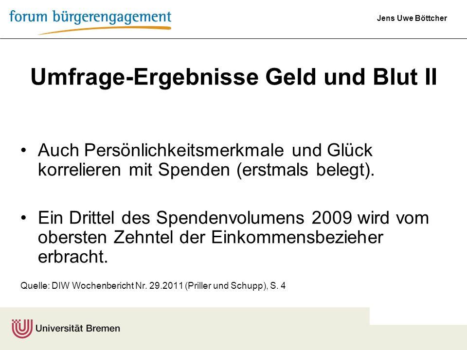 Jens Uwe Böttcher Umfrage-Ergebnisse Geld und Blut II Auch Persönlichkeitsmerkmale und Glück korrelieren mit Spenden (erstmals belegt). Ein Drittel de