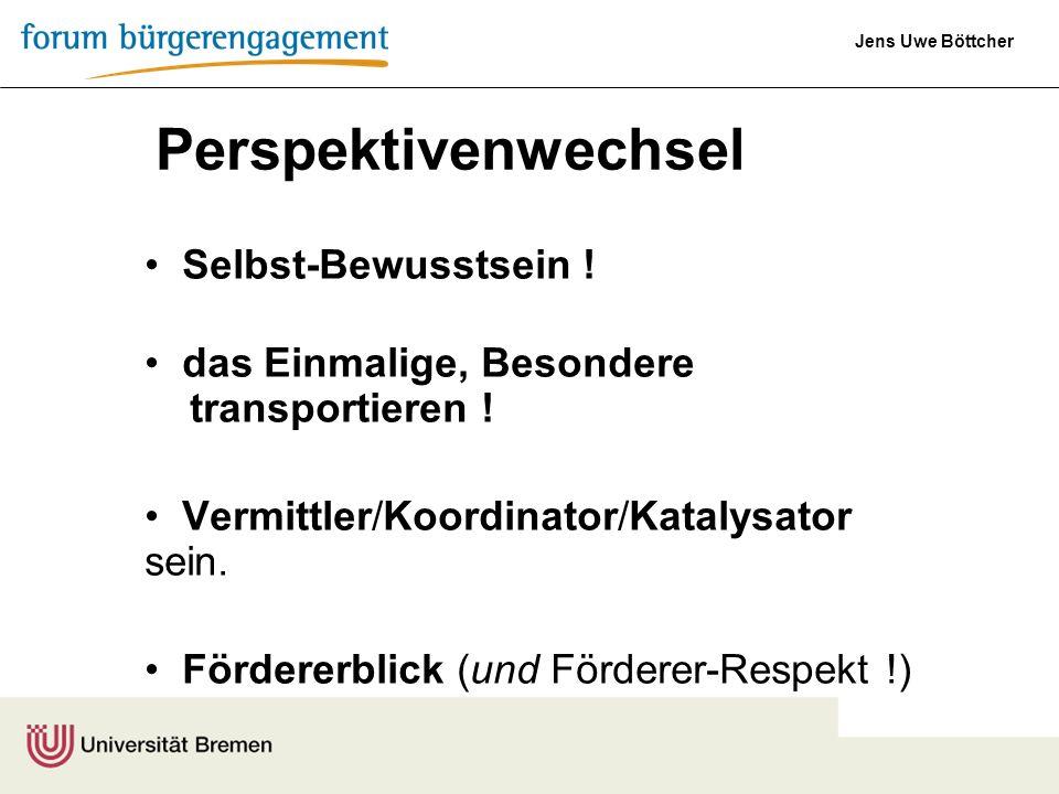 Jens Uwe Böttcher Perspektivenwechsel Selbst-Bewusstsein ! das Einmalige, Besondere transportieren ! Vermittler/Koordinator/Katalysator sein. Förderer