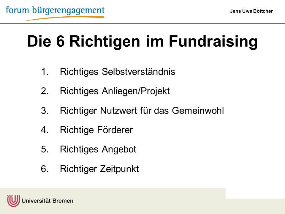 Jens Uwe Böttcher Die 6 Richtigen im Fundraising 1.Richtiges Selbstverständnis 2.Richtiges Anliegen/Projekt 3.Richtiger Nutzwert für das Gemeinwohl 4.