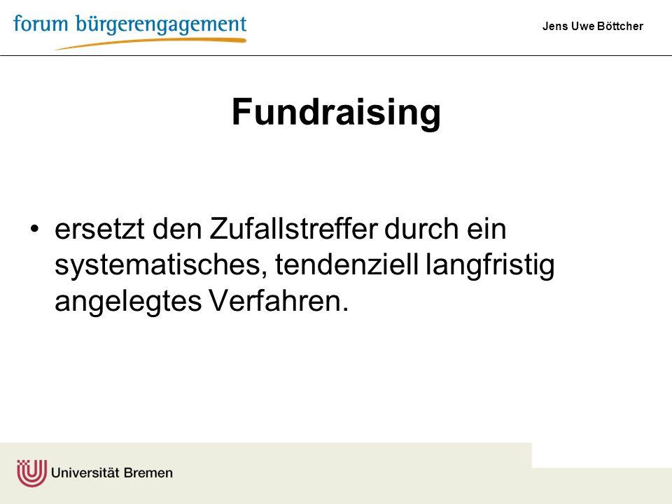 Jens Uwe Böttcher Fundraising ist ein Gestaltungsprozess, der im Wesentlichen aus kreativen Marketingelementen, gefühlvoller Kommunikation und solidem Management besteht.