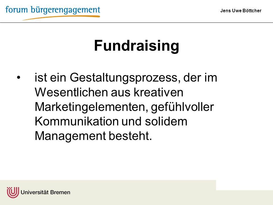Jens Uwe Böttcher Fundraising ist ein Gestaltungsprozess, der im Wesentlichen aus kreativen Marketingelementen, gefühlvoller Kommunikation und solidem