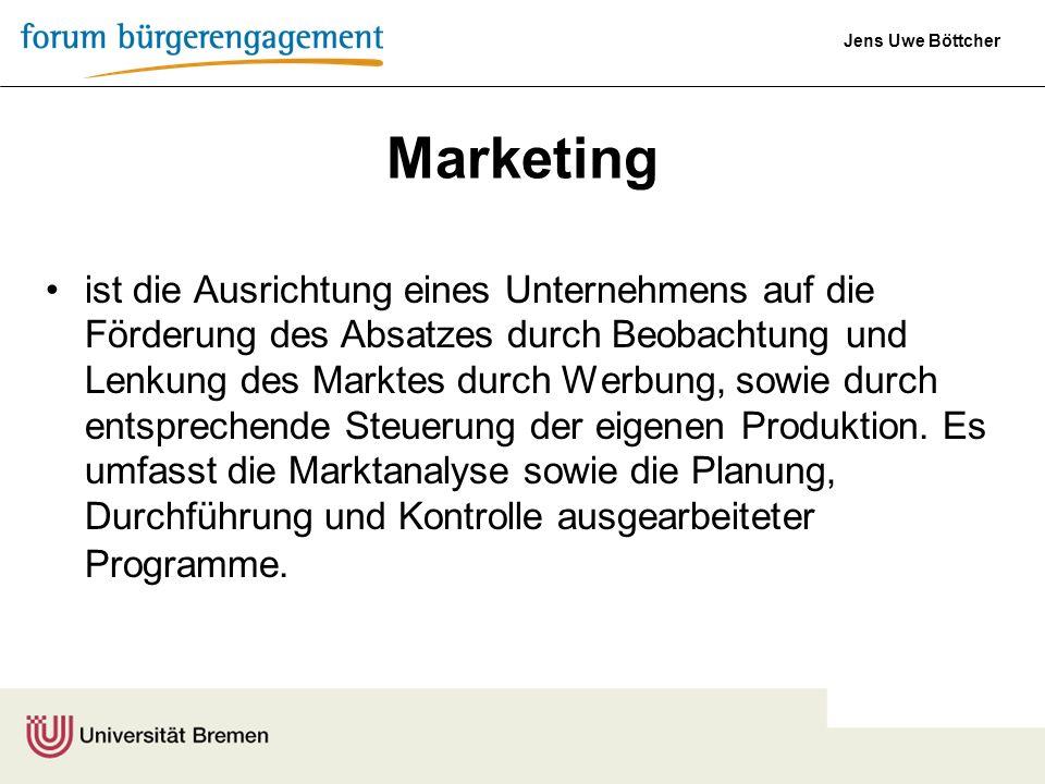 Jens Uwe Böttcher Der Zweck von Marketing liegt darin, in spezifischen Märkten freiwillige Austauschvorgänge herbeizuführen oder zu steigern, um hierdurch die Unternehmensziele zu erreichen.