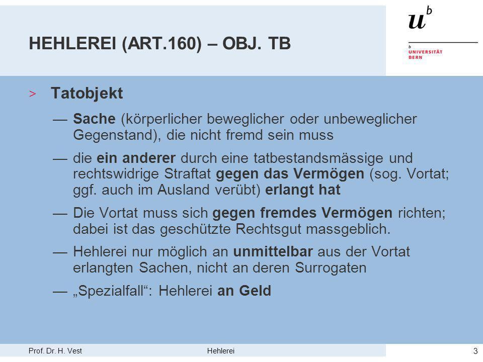 Prof. Dr. H. Vest Hehlerei 3 HEHLEREI (ART.160) – OBJ.