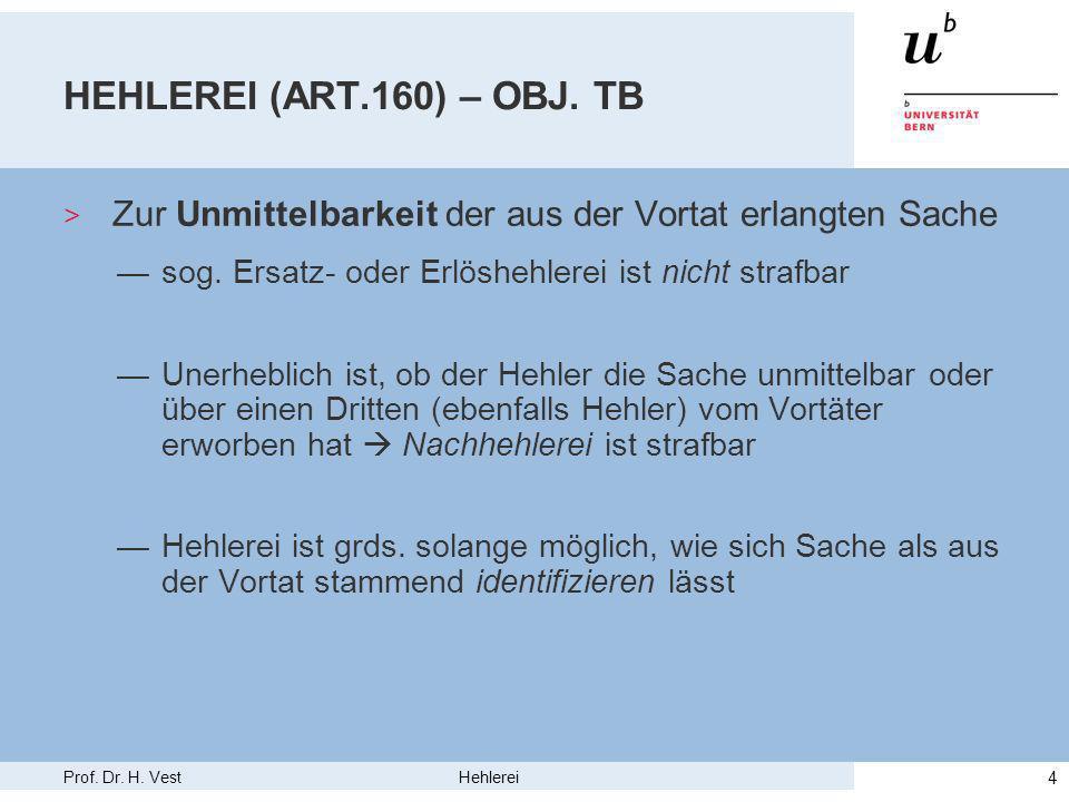 Prof. Dr. H. Vest Hehlerei 4 HEHLEREI (ART.160) – OBJ.
