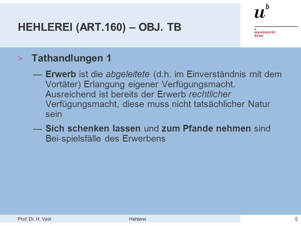 Prof. Dr. H. Vest Hehlerei 5 HEHLEREI (ART.160) – OBJ.
