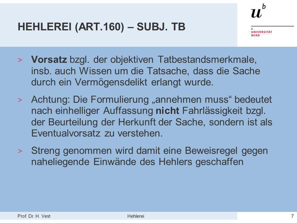 Prof. Dr. H. Vest Hehlerei 7 HEHLEREI (ART.160) – SUBJ.