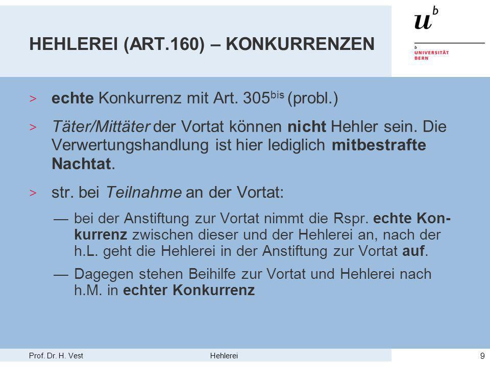 Prof. Dr. H. Vest Hehlerei 9 HEHLEREI (ART.160) – KONKURRENZEN > echte Konkurrenz mit Art.