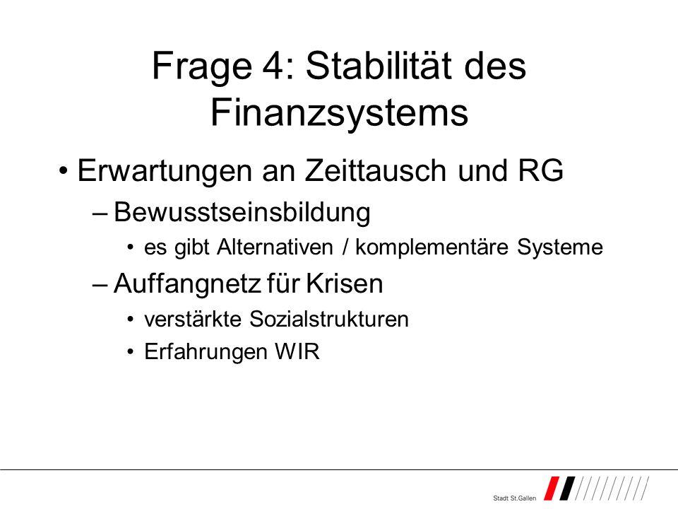 Frage 4: Stabilität des Finanzsystems Erwartungen an Zeittausch und RG –Bewusstseinsbildung es gibt Alternativen / komplementäre Systeme –Auffangnetz für Krisen verstärkte Sozialstrukturen Erfahrungen WIR