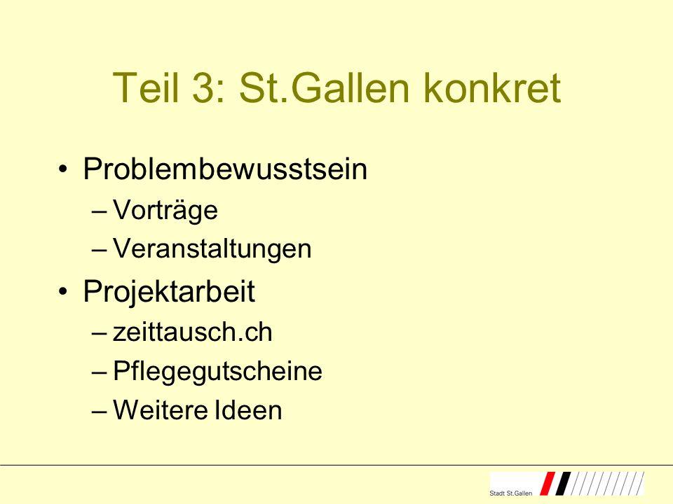 Teil 3: St.Gallen konkret Problembewusstsein –Vorträge –Veranstaltungen Projektarbeit –zeittausch.ch –Pflegegutscheine –Weitere Ideen