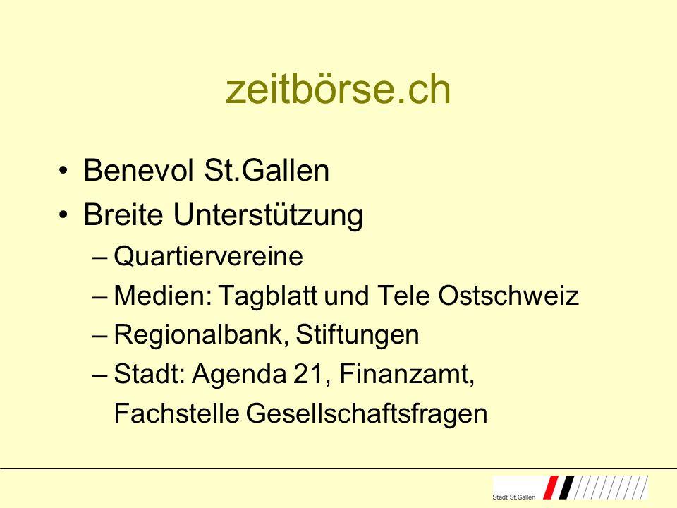 zeitbörse.ch Benevol St.Gallen Breite Unterstützung –Quartiervereine –Medien: Tagblatt und Tele Ostschweiz –Regionalbank, Stiftungen –Stadt: Agenda 21, Finanzamt, Fachstelle Gesellschaftsfragen