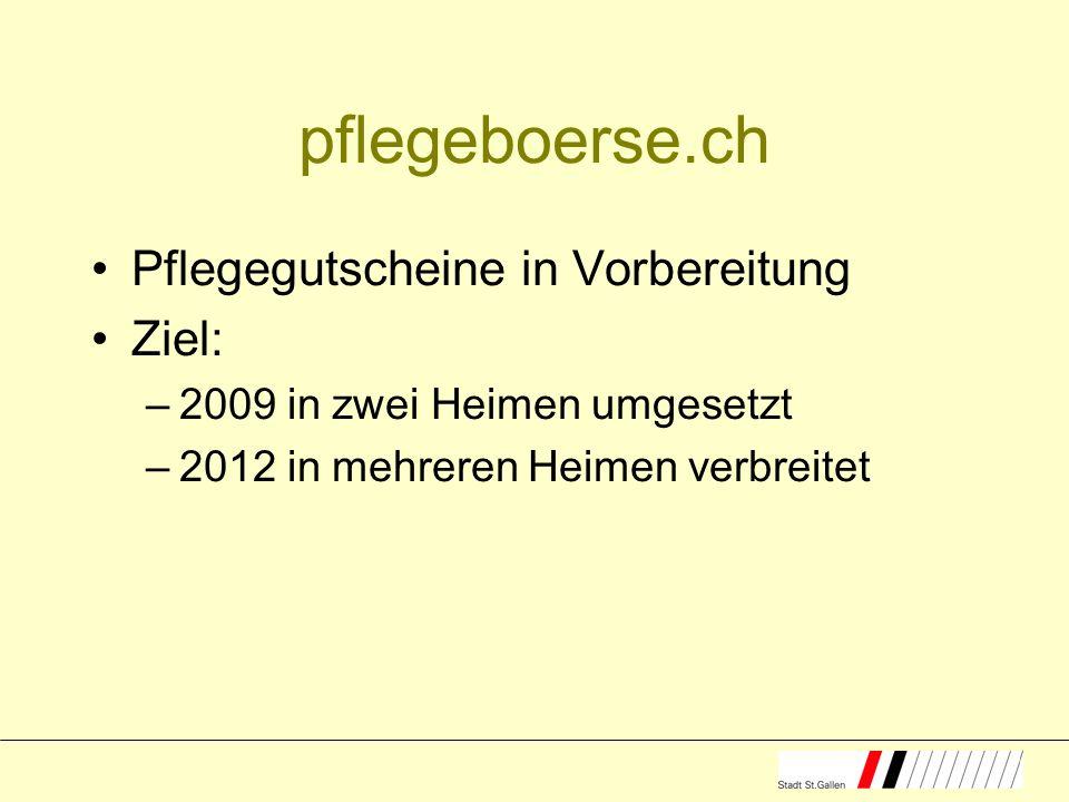pflegeboerse.ch Pflegegutscheine in Vorbereitung Ziel: –2009 in zwei Heimen umgesetzt –2012 in mehreren Heimen verbreitet