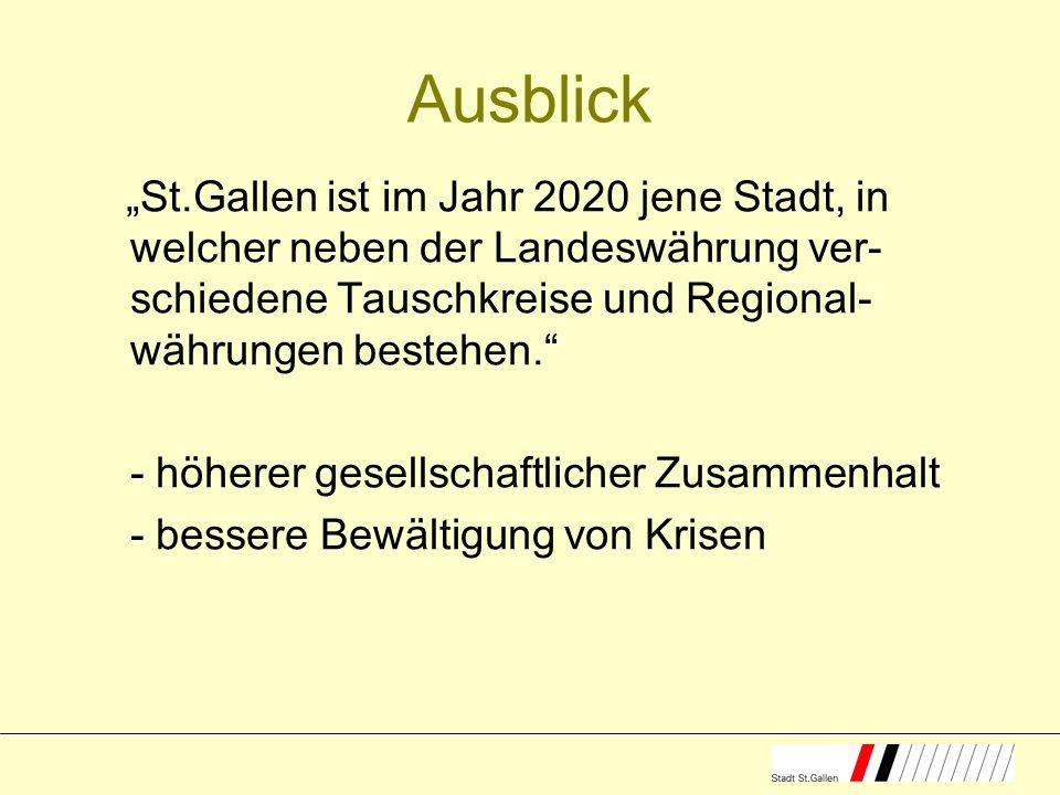 Ausblick St.Gallen ist im Jahr 2020 jene Stadt, in welcher neben der Landeswährung ver- schiedene Tauschkreise und Regional- währungen bestehen.